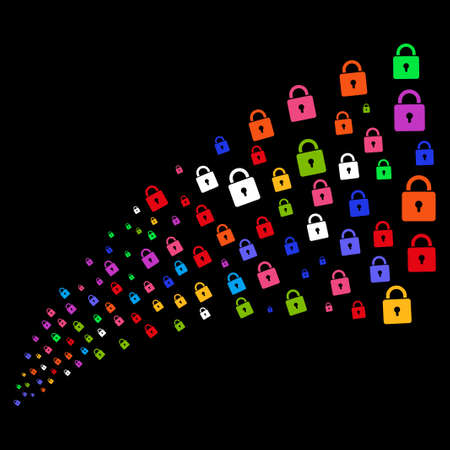 Source stream of lock icons. Raster illustration style is flat bright multicolored iconic lock symbols on a black background. Object fountain constructed from symbols.
