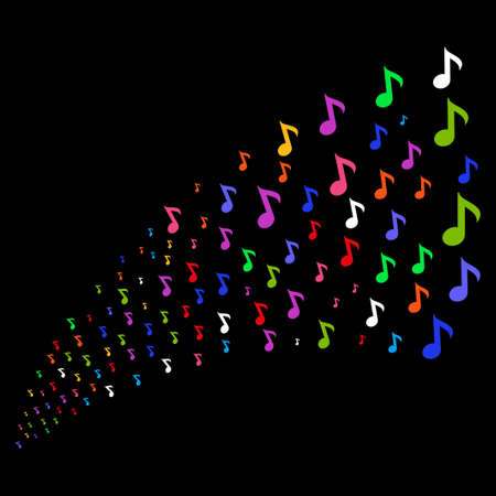 Source stream of musical note symbols. Raster illustration style is flat bright multicolored iconic musical note symbols on a black background. Object fountain organized from pictograms.