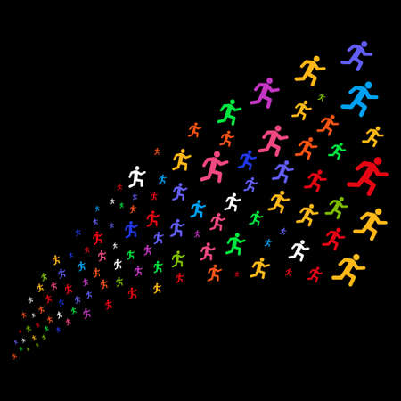 Fountain of running man symbols. Raster illustration style is flat bright multicolored iconic running man symbols on a black background. Object fountain done from symbols.