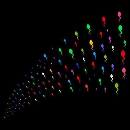 spermatozoon: Stream of spermatozoon symbols. Raster illustration style is flat bright multicolored iconic spermatozoon symbols on a black background. Object fountain combined from symbols. Stock Photo