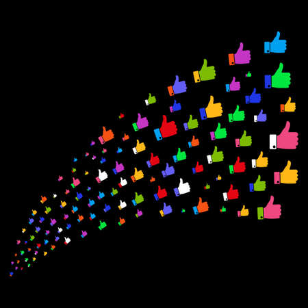 Source of thumb up icons. Raster illustration style is flat bright multicolored iconic thumb up symbols on a black background. Object fountain constructed from symbols. Stock Photo