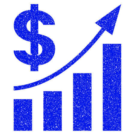 Grunge Dollar Bar Chart Trend icon with grunge design and dust texture. Unclean vector blue pictogram for rubber seal stamp imitations and watermarks. Draft emblem symbol.