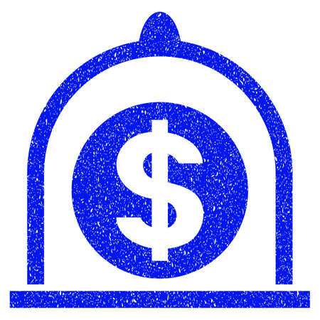 preserved: Grunge Dollar Standard icon with grunge design and dust texture. Unclean vector blue pictogram for rubber seal stamp imitations and watermarks. Draft sticker symbol. Illustration