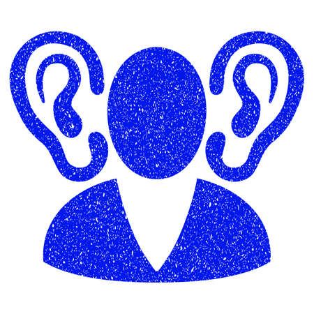 fbi: Grunge Listener icon with grunge design and dust texture. Unclean vector blue pictogram for rubber seal stamp imitations and watermarks. Draft sticker symbol.