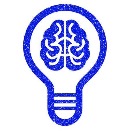 Grunge Brain Bulb icon with grunge design and scratched texture. Unclean raster blue pictogram for rubber seal stamp imitations and watermarks. Draft sticker symbol.