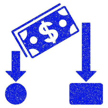 Grunge Cash Flow icon with grunge design and dust texture. Unclean raster blue pictogram for rubber seal stamp imitations and watermarks. Draft emblem symbol.