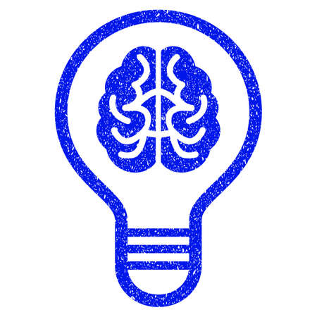Grunge Brain Bulb icon with grunge design and dirty texture. Unclean raster blue pictogram for rubber seal stamp imitations and watermarks. Draft sticker symbol.