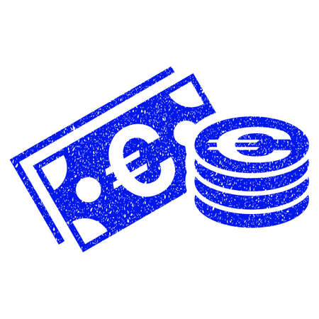 Grunge Euro Cash icon with grunge design and scratched texture. Unclean raster blue pictogram for rubber seal stamp imitations and watermarks. Draft emblem symbol. Stock Photo