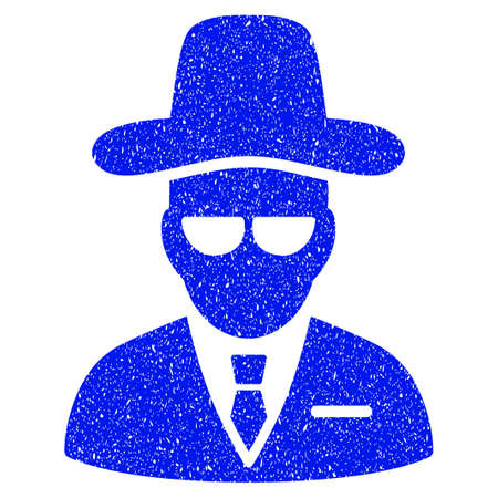 fbi: Grunge Agent icon with grunge design and dust texture. Unclean raster blue pictogram for rubber seal stamp imitations and watermarks. Draft emblem symbol. Stock Photo