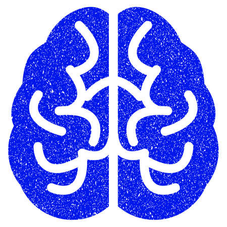 Grunge Brain icon with grunge design and dust texture. Unclean raster blue pictogram for rubber seal stamp imitations and watermarks. Draft emblem symbol.