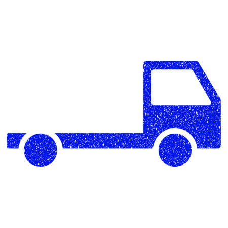 chassis: Grunge Truck Chassis icon with grunge design and scratched texture. Unclean raster blue pictogram for rubber seal stamp imitations and watermarks. Draft sticker symbol.