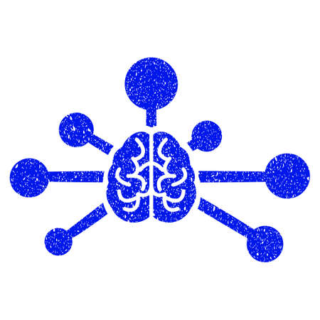 Grunge Mind Control Links icon with grunge design and dirty texture. Unclean raster blue pictogram for rubber seal stamp imitations and watermarks. Draft emblem symbol.