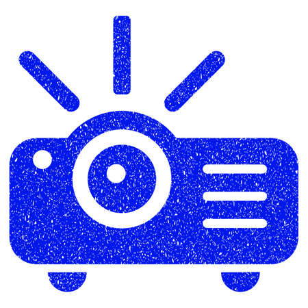 Grunge Projector icon with grunge design and scratched texture. Unclean raster blue pictogram for rubber seal stamp imitations and watermarks. Draft emblem symbol.