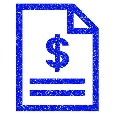 indent: Grunge Invoice Page icon with grunge design and unclean texture. Unclean raster blue pictogram for rubber seal stamp imitations and watermarks. Draft sign symbol.