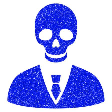 Grunge Deadly Manager icon with grunge design and unclean texture. Unclean vector blue pictogram for rubber seal stamp imitations and watermarks. Draft emblem symbol.