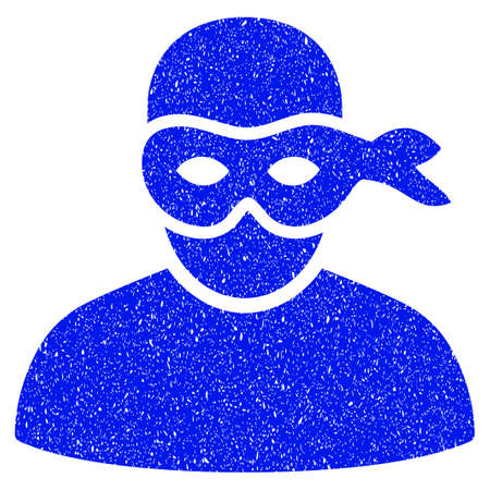 Grunge Anonimious Thief icon with grunge design and unclean texture. Unclean vector blue pictogram for rubber seal stamp imitations and watermarks. Draft emblem symbol. Illustration