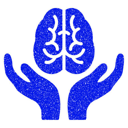 Grunge Brain Care Hands icon with grunge design and unclean texture. Unclean vector blue pictogram for rubber seal stamp imitations and watermarks. Draft sticker symbol.