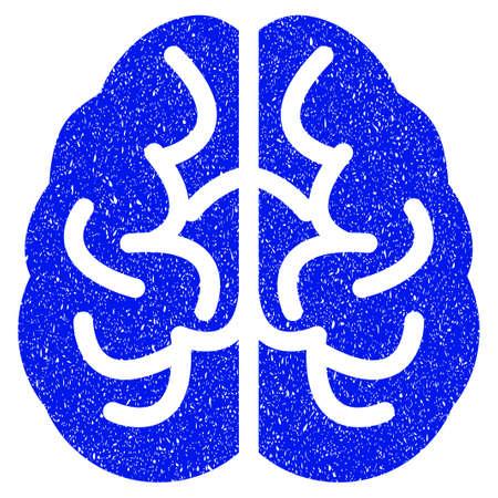 Icono del cerebro de Grunge con diseño grunge y textura sucia. Pictograma azul del vector sucia para las imitaciones del sello de goma y las filigranas. Proyecto de símbolo de la pegatina. Ilustración de vector