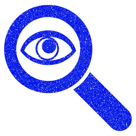 exploring: Grunge Eye Explore icon with grunge design and unclean texture. Unclean vector blue pictogram for rubber seal stamp imitations and watermarks. Draft sign symbol.