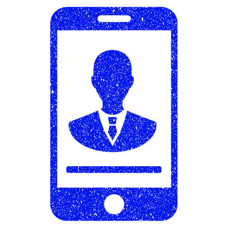 old cell phone: Grunge Mobile Manager Contact icon with grunge design and dust texture. Unclean vector blue pictogram for rubber seal stamp imitations and watermarks. Draft sign symbol.