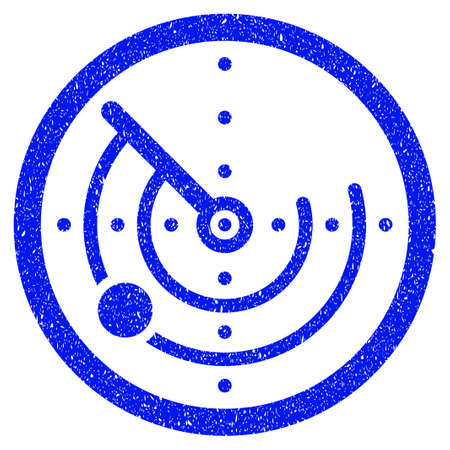 localization: Grunge Radar icon with grunge design and scratched texture. Unclean vector blue pictogram for rubber seal stamp imitations and watermarks. Draft sticker symbol.
