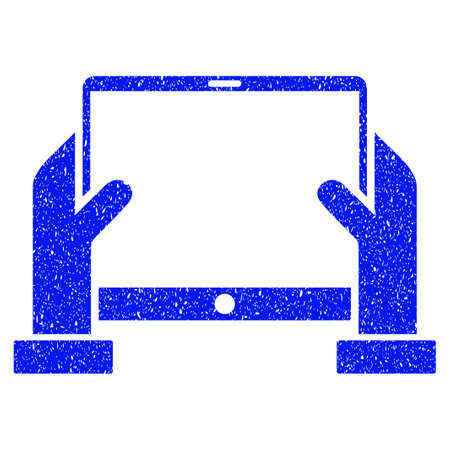 raster: Grunge Hands Hold Tablet icon with grunge design and dust texture. Unclean raster blue pictogram for rubber seal stamp imitations and watermarks. Draft emblem symbol. Stock Photo