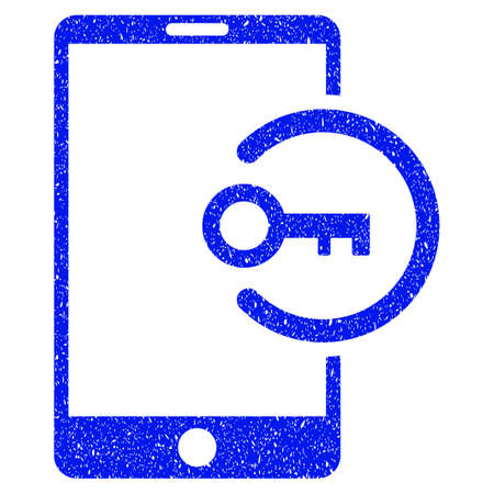 Grunge Key Login Smartphone icon with grunge design and dirty texture. Unclean raster blue pictogram for rubber seal stamp imitations and watermarks. Draft sign symbol.