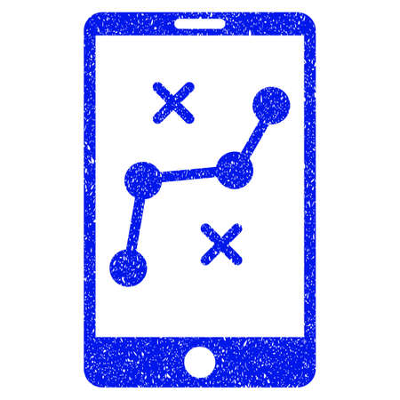 raster: Grunge Mobile Navigation Route icon with grunge design and dirty texture. Unclean raster blue pictogram for rubber seal stamp imitations and watermarks. Draft sign symbol. Stock Photo