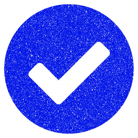 Grunge Yes icon with grunge design and dust texture. Unclean vector blue pictogram for rubber seal stamp imitations and watermarks. Draft sticker symbol.