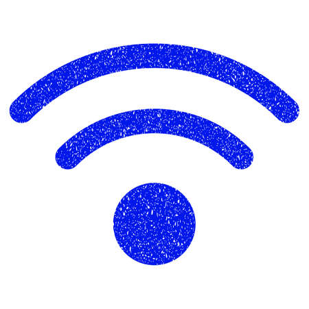 Grunge Wi-Fi icon with grunge design and dust texture. Unclean raster blue pictogram for rubber seal stamp imitations and watermarks. Draft emblem symbol.