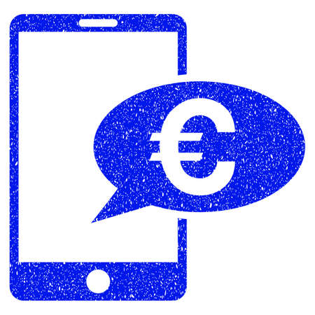 Grunge Euro Mobile Message icon with grunge design and dust texture. Unclean raster blue pictogram for rubber seal stamp imitations and watermarks. Draft sign symbol. Stock Photo