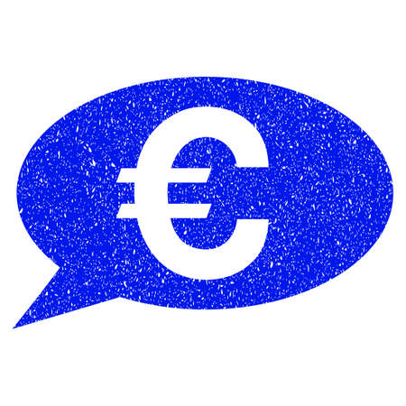 Grunge Euro Message icon with grunge design and scratched texture. Unclean vector blue pictogram for rubber seal stamp imitations and watermarks. Draft emblem symbol.