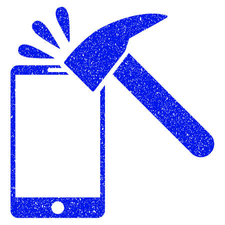 display problem: Grunge Hammer Break Smartphone icon with grunge design and dust texture. Unclean vector blue pictogram for rubber seal stamp imitations and watermarks. Draft emblem symbol.