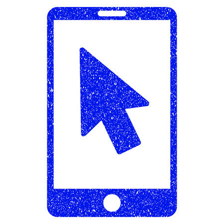 select: Grunge Mobile Arrow Pointer icon with grunge design and unclean texture. Unclean vector blue pictogram for rubber seal stamp imitations and watermarks. Draft sign symbol.