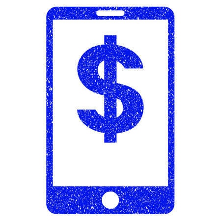 smartphone business: Grunge Mobile Balance icon with grunge design and scratched texture. Unclean vector blue pictogram for rubber seal stamp imitations and watermarks. Draft emblem symbol.