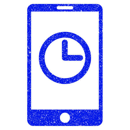 corrosion: Grunge Mobile Clock icon with grunge design and dirty texture. Unclean vector blue pictogram for rubber seal stamp imitations and watermarks. Draft sticker symbol.