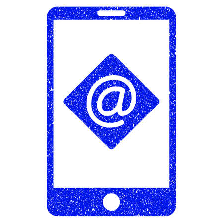 mobilephone: Grunge Mobile Email icon with grunge design and dust texture. Unclean vector blue pictogram for rubber seal stamp imitations and watermarks. Draft emblem symbol.
