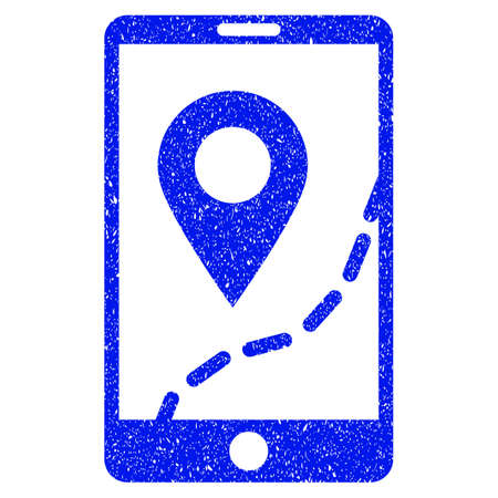 Grunge Mobile Map Navigation icon with grunge design and dust texture. Unclean vector blue pictogram for rubber seal stamp imitations and watermarks. Draft sign symbol.