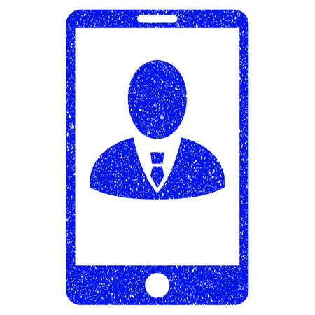 mobilephone: Grunge Phone Customer Profile icon with grunge design and dirty texture. Unclean vector blue pictogram for rubber seal stamp imitations and watermarks. Draft emblem symbol. Illustration