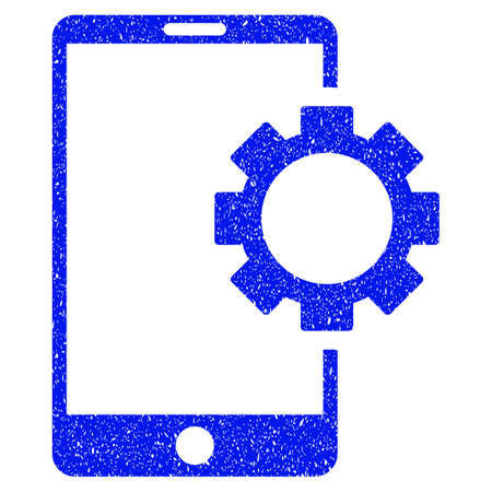 unclean: Grunge Phone Setup Gear icon with grunge design and dirty texture. Unclean vector blue pictogram for rubber seal stamp imitations and watermarks. Draft sticker symbol.