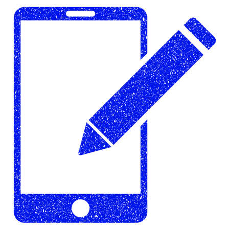 touchpad: Grunge Smartphone Edit Pencil icon with grunge design and dirty texture. Unclean vector blue pictogram for rubber seal stamp imitations and watermarks. Draft sign symbol.