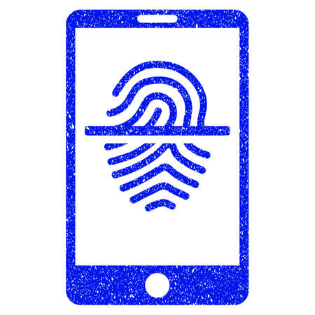 unclean: Grunge Smartphone Fingerprint Scanner icon with grunge design and dirty texture. Unclean vector blue pictogram for rubber seal stamp imitations and watermarks. Draft sign symbol.