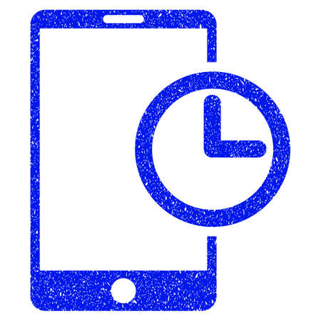 mobilephone: Grunge Smartphone Time icon with grunge design and dust texture. Unclean vector blue pictogram for rubber seal stamp imitations and watermarks. Draft sticker symbol.