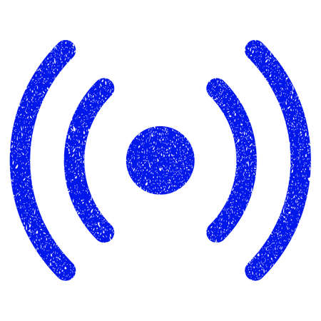 Grunge Wi-Fi Source icon with grunge design and unclean texture. Unclean vector blue pictogram for rubber seal stamp imitations and watermarks. Draft emblem symbol. Illustration