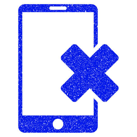 touchpad: Grunge Wrong Smartphone icon with grunge design and scratched texture. Unclean vector blue pictogram for rubber seal stamp imitations and watermarks. Draft sticker symbol.