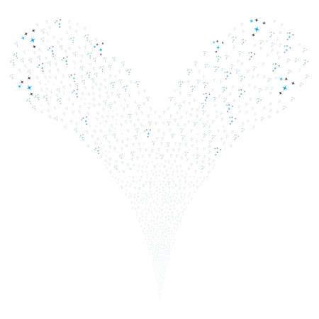 scattering: Space Stars explosive stream. Raster illustration style is flat blue and gray iconic space stars symbols on a white background. Object fountain done from random symbols.