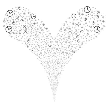 scatters: Clock source stream. Raster illustration style is flat gray iconic clock symbols on a white background. Object fountain constructed from random pictographs.