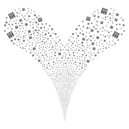 Books fireworks stream. Raster illustration style is flat gray iconic books symbols on a white background. Object fountain created from random symbols.