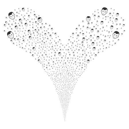 scattering: Man Head explosive stream. Raster illustration style is flat gray iconic man head symbols on a white background. Object fountain organized from random symbols.