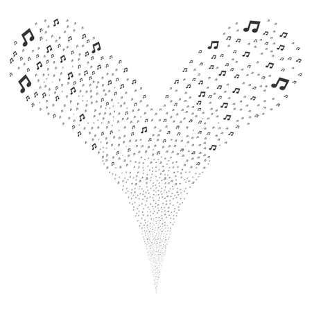 scattering: Music Notes source stream. Raster illustration style is flat gray iconic music notes symbols on a white background. Object fountain created from random design elements. Stock Photo